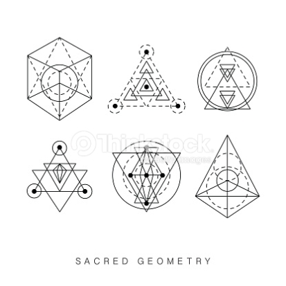 Sacred geometry signs set. Linear Modern Art. Vector illustration
