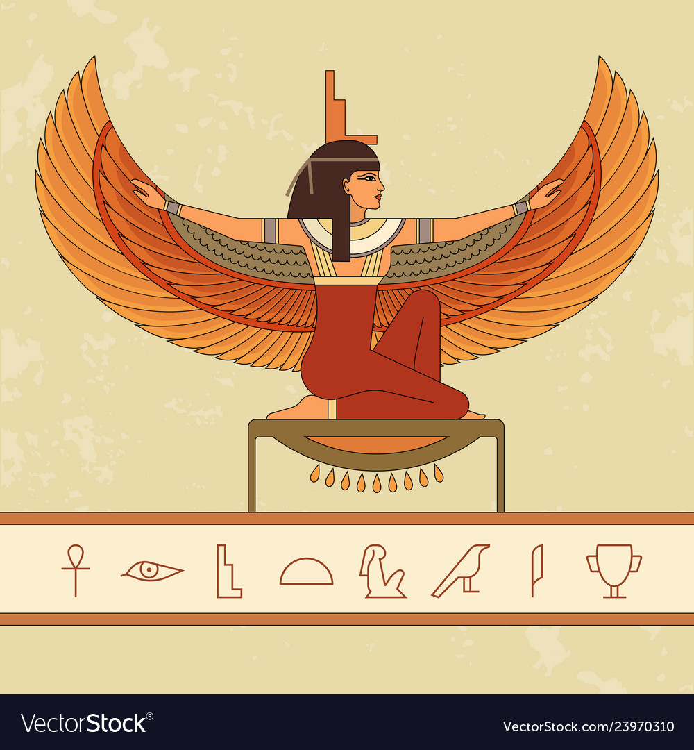 The Egyptian goddess Isis. Animation portrait of the beautiful E